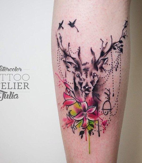 Flower and deer calf tattoo-24