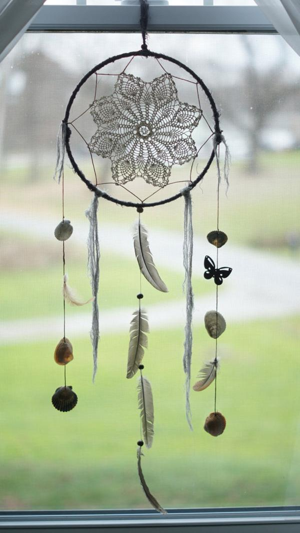Large Gray Feathers & Crochet Dream Catcher