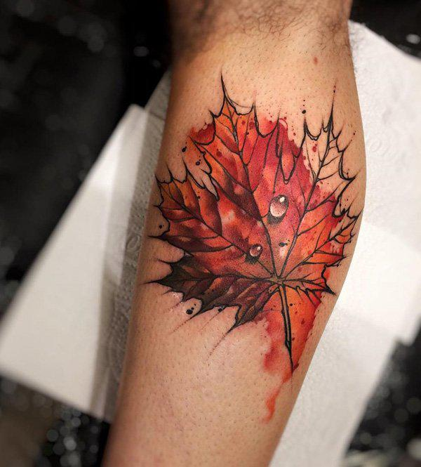 Leaf calf tattoo-39