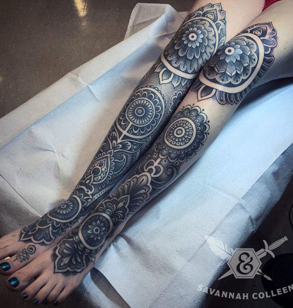 Mandala calf tattoo-41