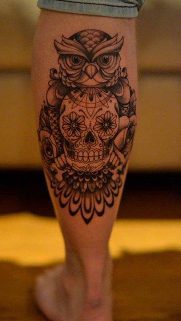 Owl Calf Tattoo-50