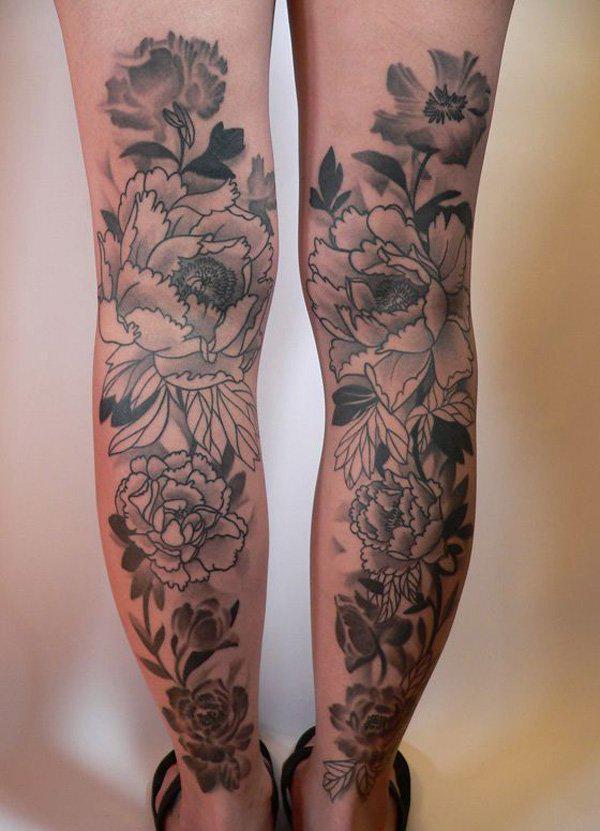 Peony calf tattoo-49