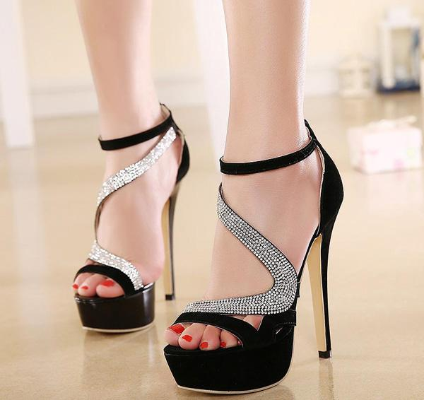 Roman Style Ankle Strap Crystal Studded Glitter Shoes Sandals For Women Heels Ballroom Dance Shoes Party wedding Prom Gown si (1)