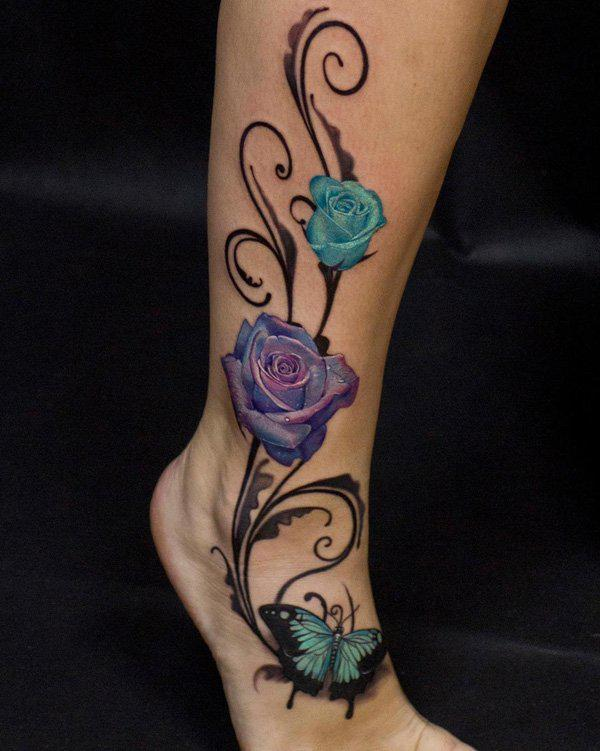 Rose and butterfly calf tattoo-37
