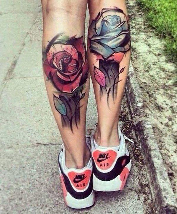 Rose calf tattoo for girl-46