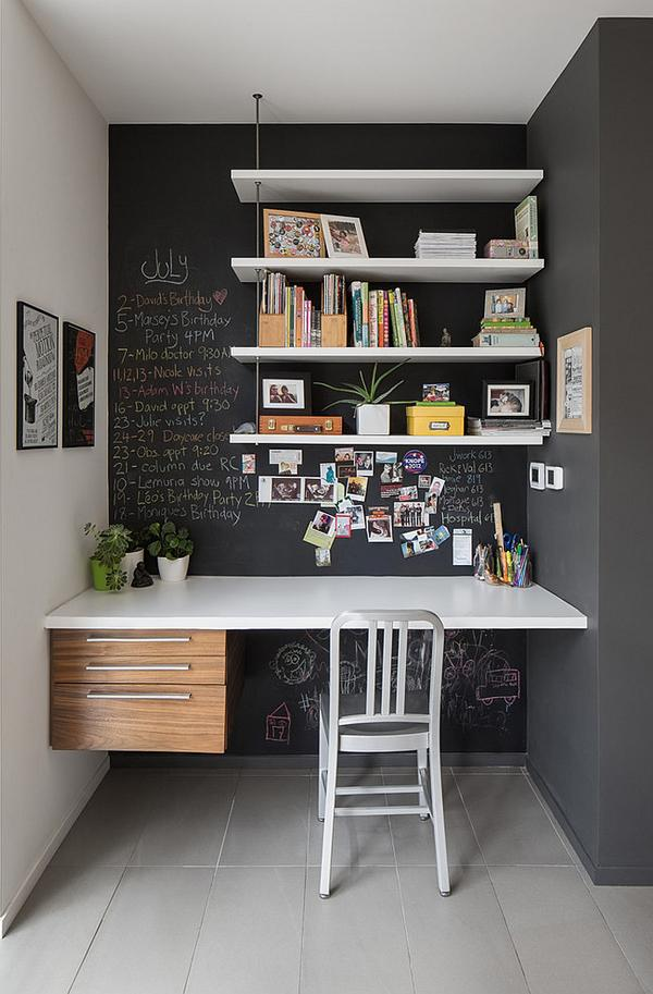 Small-home-office-idea-with-chalkboard-walls