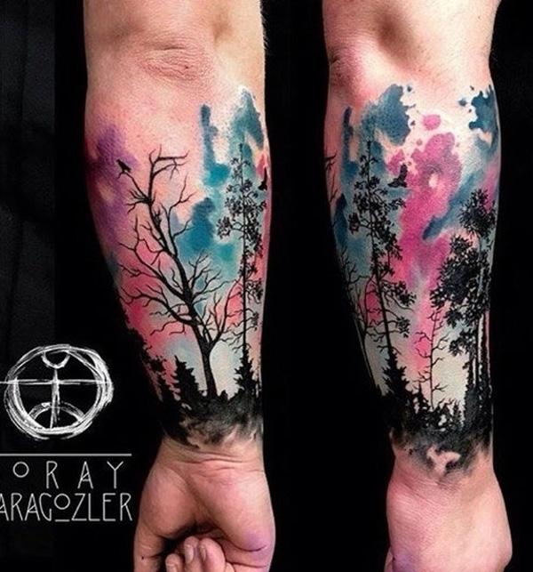 Watercolor Forest Tattoo on Wtist by Koray-Karagozler-15