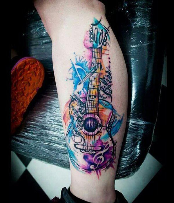 Watercolor music calf tattoo-9