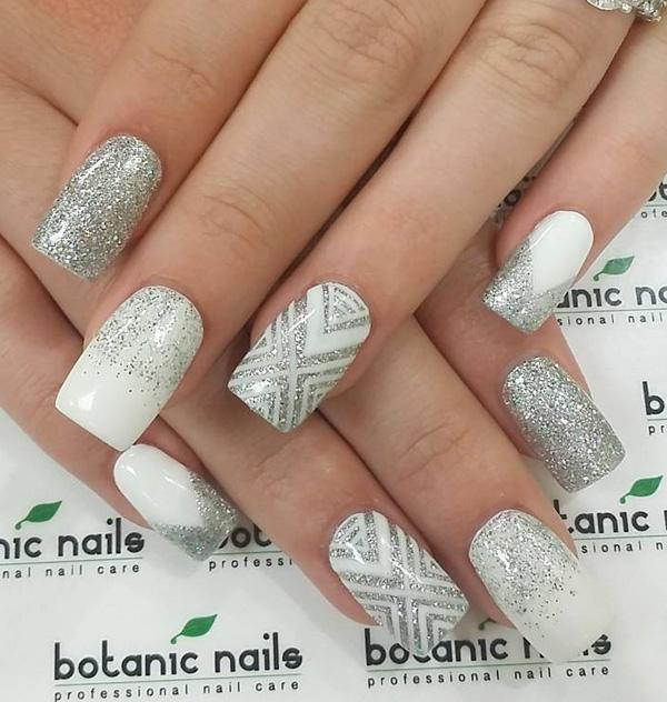 45 chevron nail art ideas art and design heres a combination of styles you can do with a white nail or false nail prinsesfo Images
