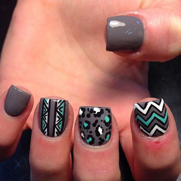 work on those chevron patterns and highlight them with black nail polish