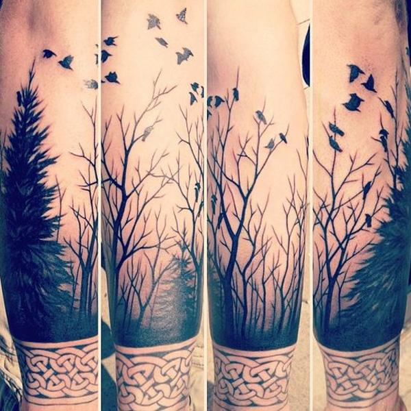 forest and birds forearm tattoo-37