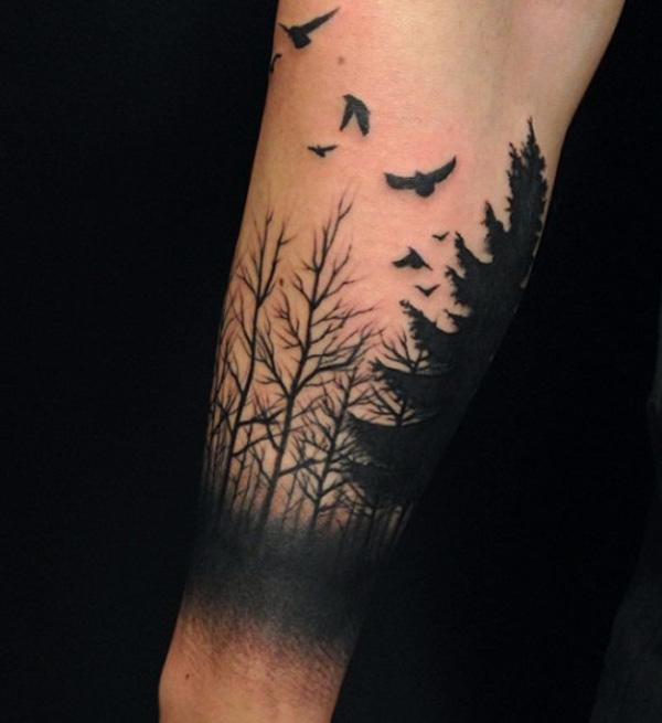 forest and birds tattoo-17