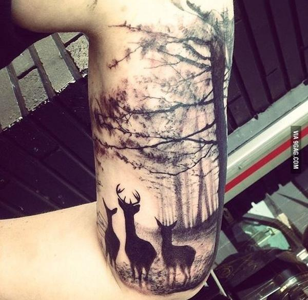 forest and deer tattoo-29