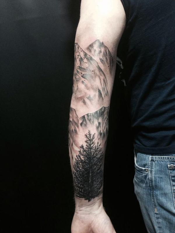 forest and mountain sleeve tattoo-32