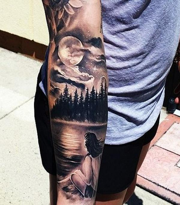 forest and mountain with girl tattoo-6