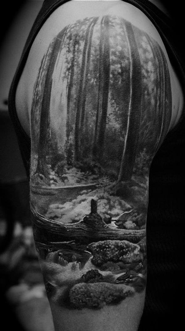 forest tattoo on sleeve-11
