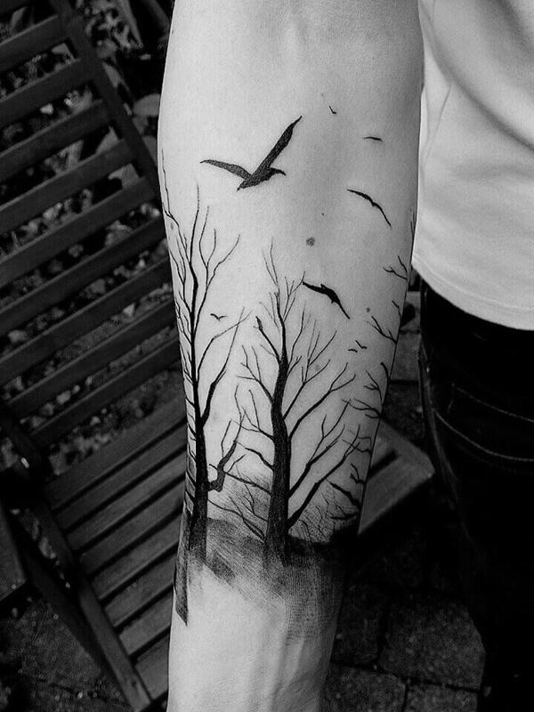 forest with birds forearm tattoo-18