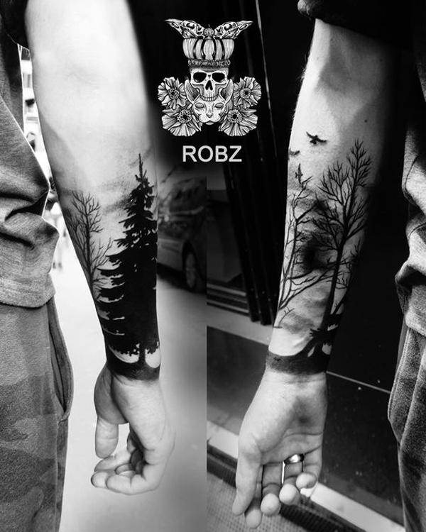 forest with birds forearm tattoo for man-41