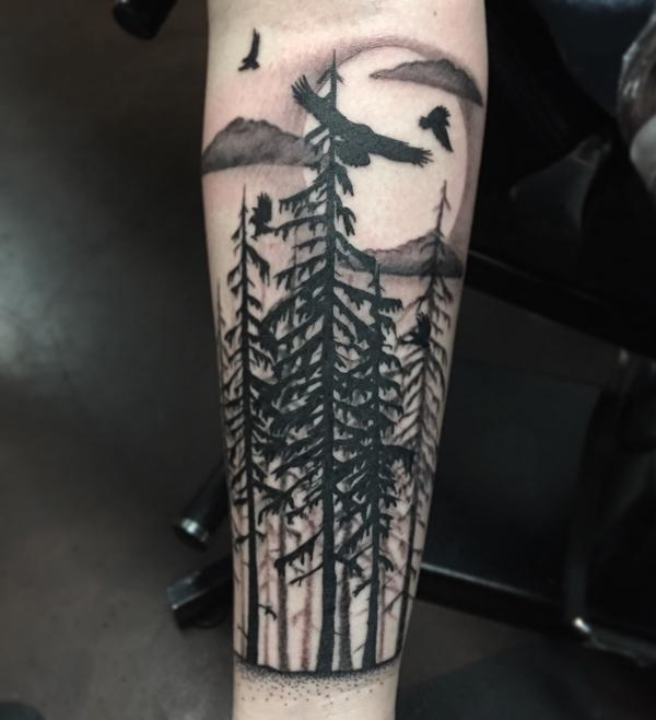 forest with birds sleee tattoo-13