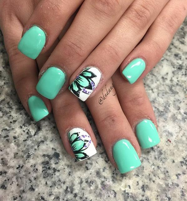 Sea greens are always cool and fresh to look at so it's one of the most ... - 45 Refreshing Green Nail Art Ideas Art And Design