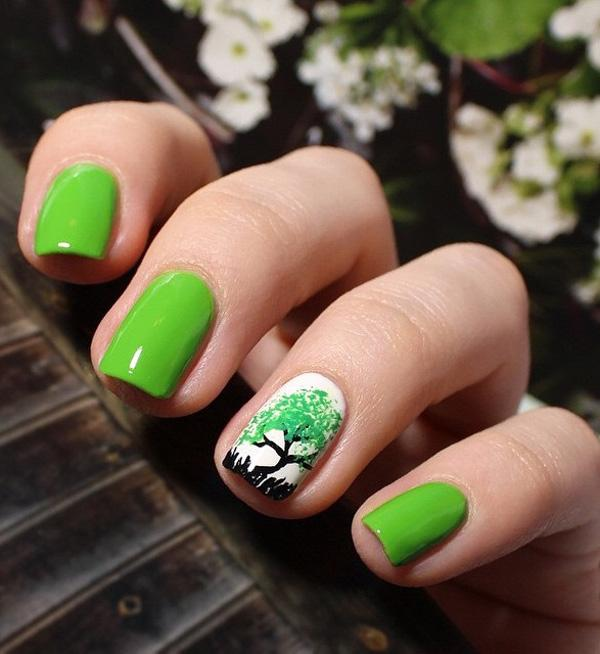 Choose a lighter green nail polish and paint it in your nails. - 45 Refreshing Green Nail Art Ideas Art And Design