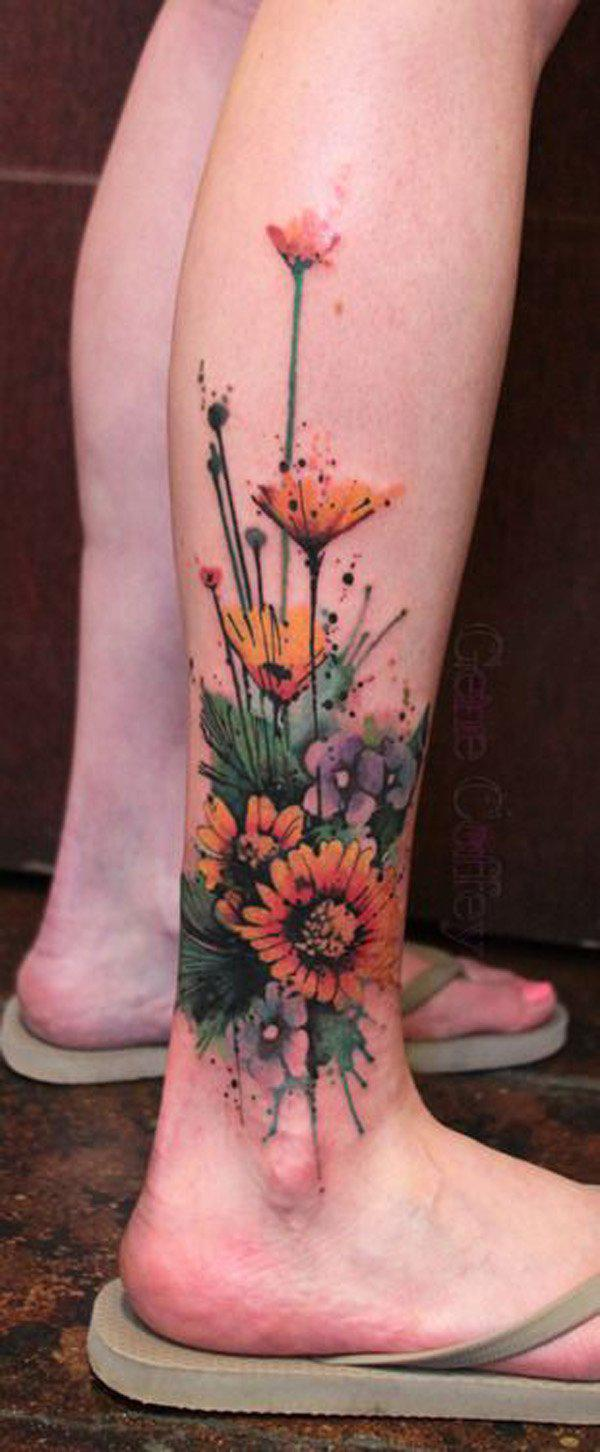 watercolor flower calf Tattoo-43