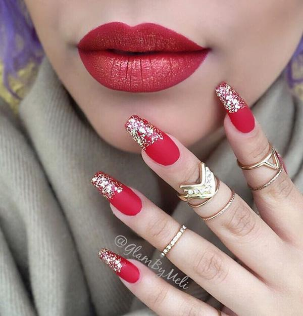 50 coffin nail art ideas art and design pair your lips with your nails get those red with hues of gold shimmer for prinsesfo Image collections