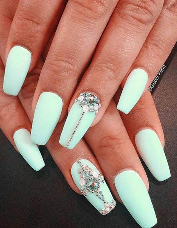 What's the best way to make your matte mint green look even more better? - 50 Coffin Nail Art Ideas Art And Design
