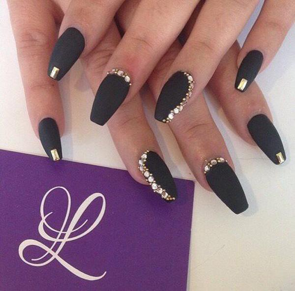 Rock it with this black matte nail polish and glam it up by adding diamonds  and ... - 50 Coffin Nail Art Ideas Art And Design