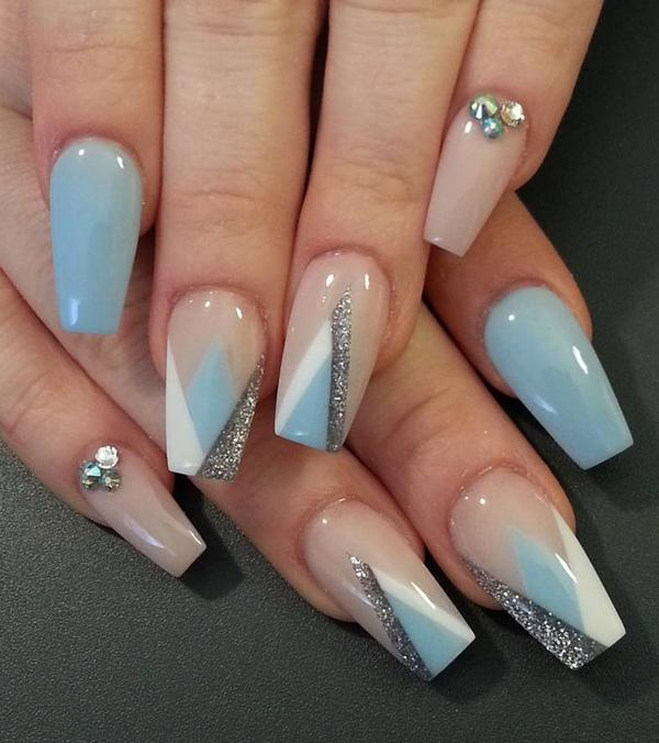 50 coffin nail art ideas art and design this sophisticated but very soothing nail art design is made up of blue white and prinsesfo Choice Image
