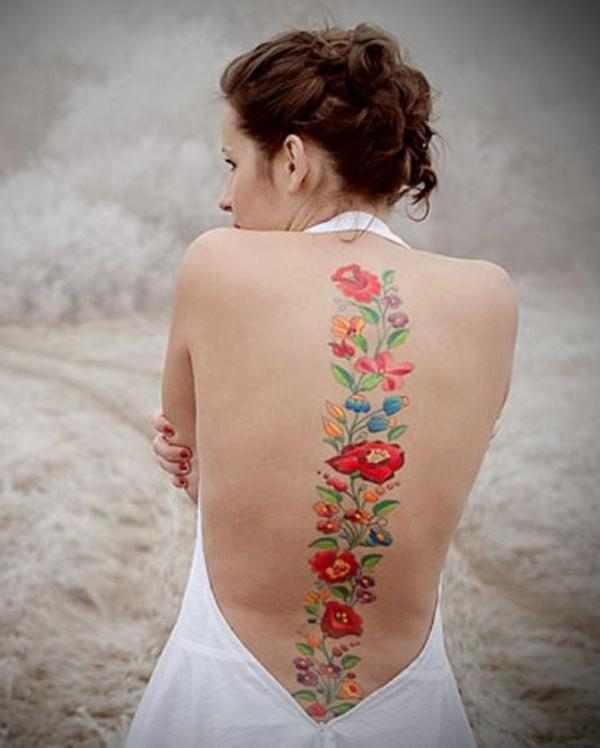 Flowers spine tattoo-31