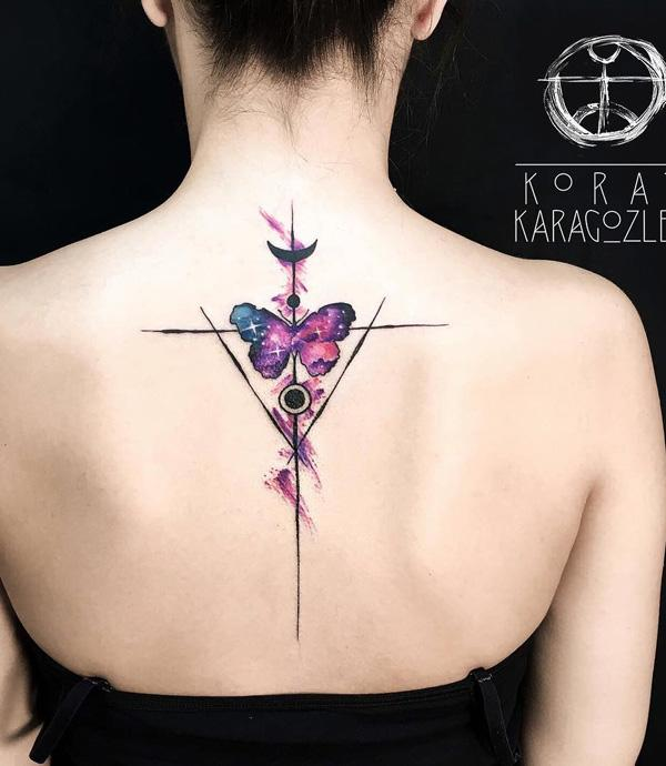 Watercolor butterfly spine tattoo-10