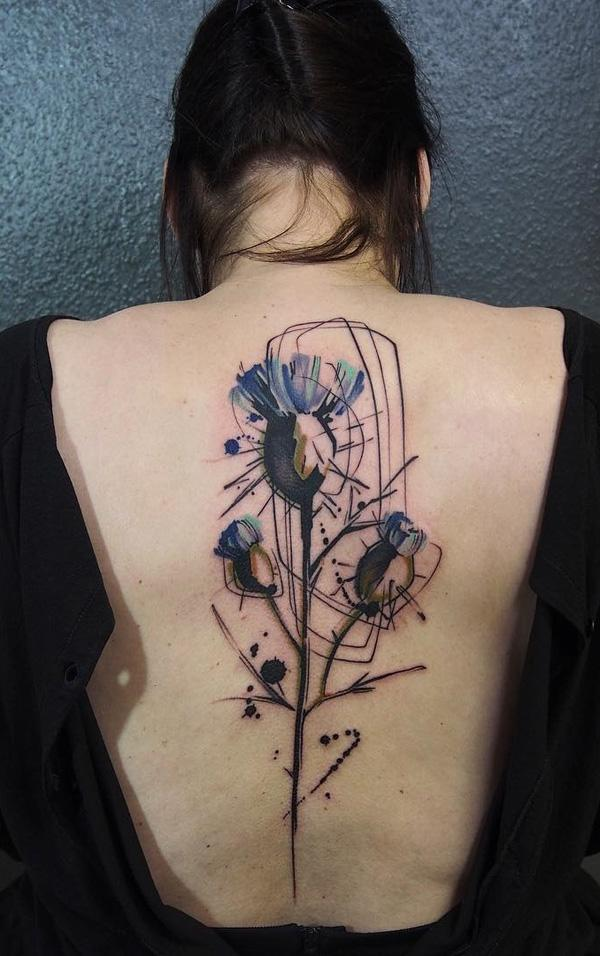 Watercolor flower spine tattoo-12