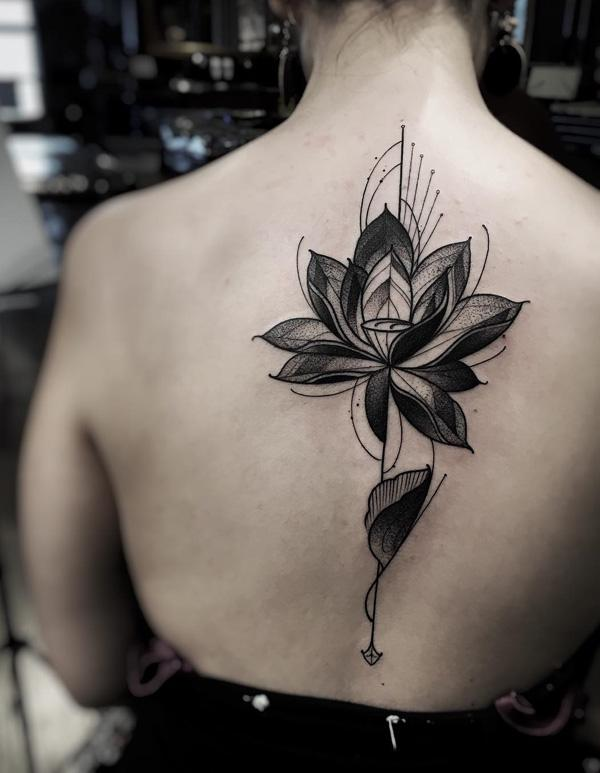 lotus spine tattoo-1