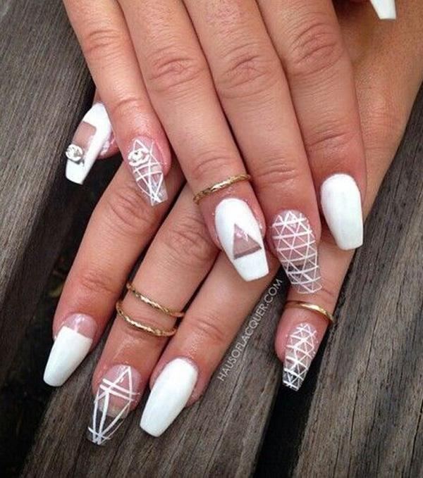 Geometric designs will never go wrong especially when you combine it with  simpler designs, ... - 50 White Nail Art Ideas Art And Design