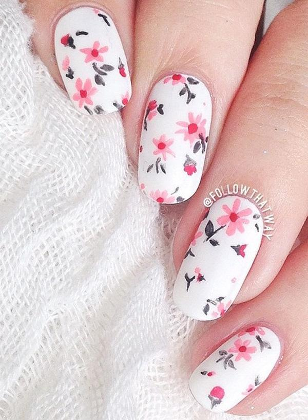 This pretty pink and gray flowers on white base will never cease to make  you feel ... - 50 White Nail Art Ideas Art And Design