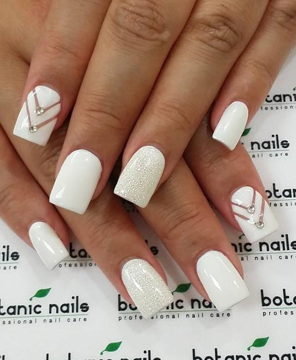 white nail art - 50 White Nail Art Ideas ... - 50 White Nail Art Ideas Art And Design