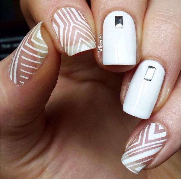 50 white nail art ideas art and design in order to achieve this design you need a thin nail brush prinsesfo Gallery
