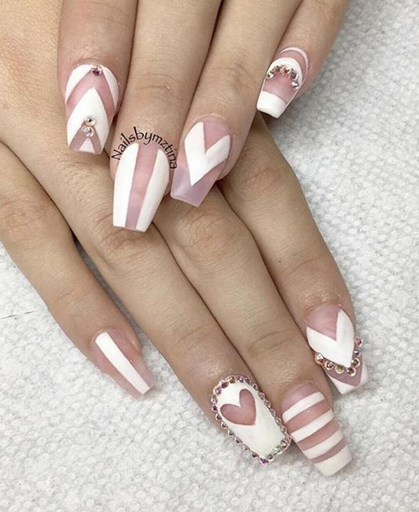 False nails could always help you if you have a hard time achieving this  shape. - 50 White Nail Art Ideas Art And Design