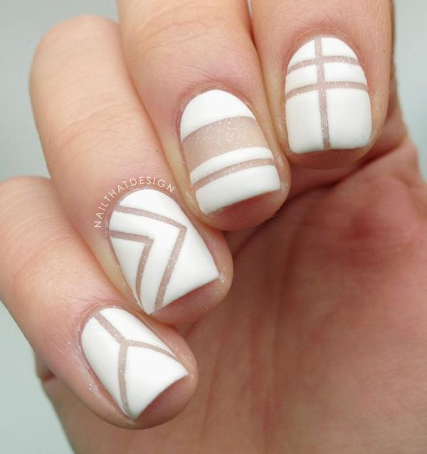 For a more interesting naked-nail design, you could try using a slightly  hazy ... - 50 White Nail Art Ideas Art And Design