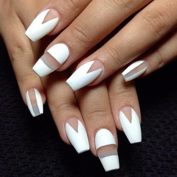There is an instant improvement with your white nail art design when you  use a matte ... - 50 White Nail Art Ideas Art And Design