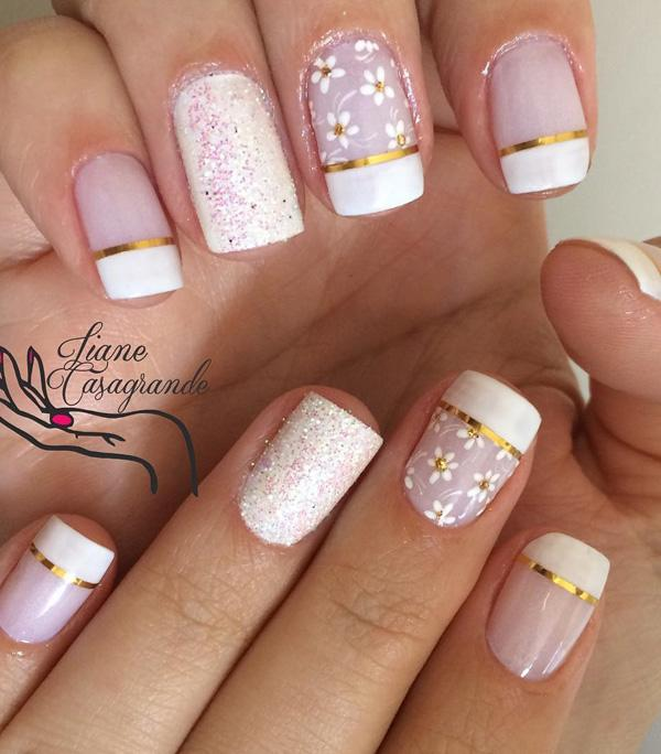 50 white nail art ideas art and design the classic french tip check metallic gold strips check floral design prinsesfo Gallery