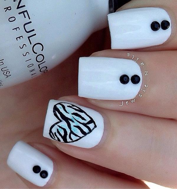 You don't need popping colors to make a grand nail art design. - 50 White Nail Art Ideas Art And Design