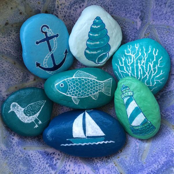Beach themed painted rock collection