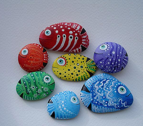 Hand painted sea stones