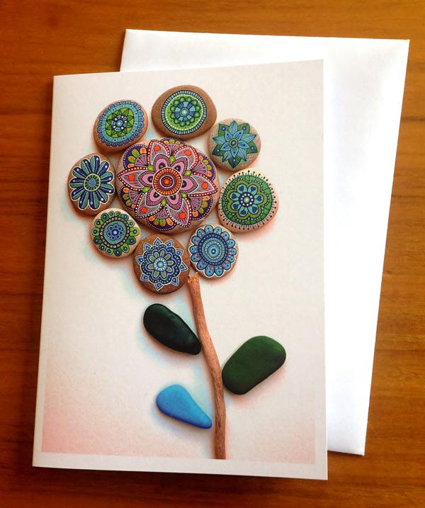 Painted stone mandala flower 2 - Greeting Card