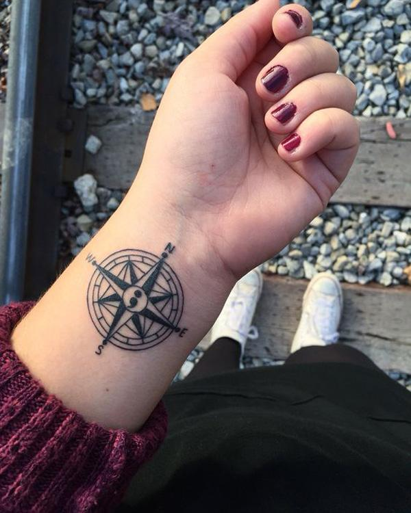 compass semicolon tattoo