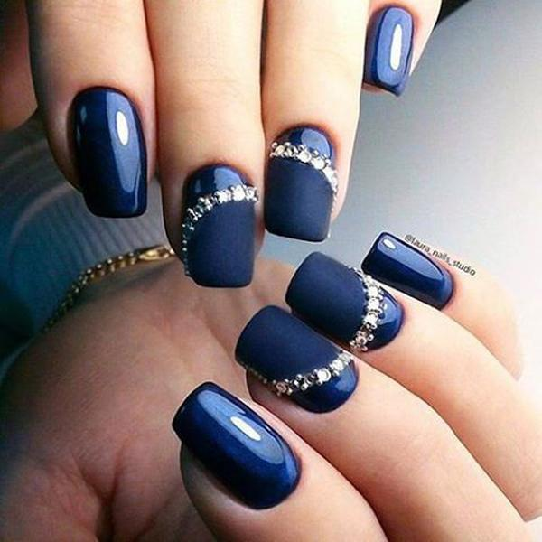 There S Our Natural Glossy Blue Nail Polish And Some Diamonds