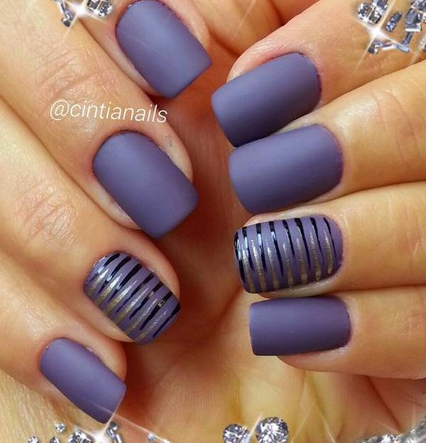 Gray matte nail polishes look extremely sleek. But you can add more fun to  the ... - 50 Matte Nail Polish Ideas Art And Design