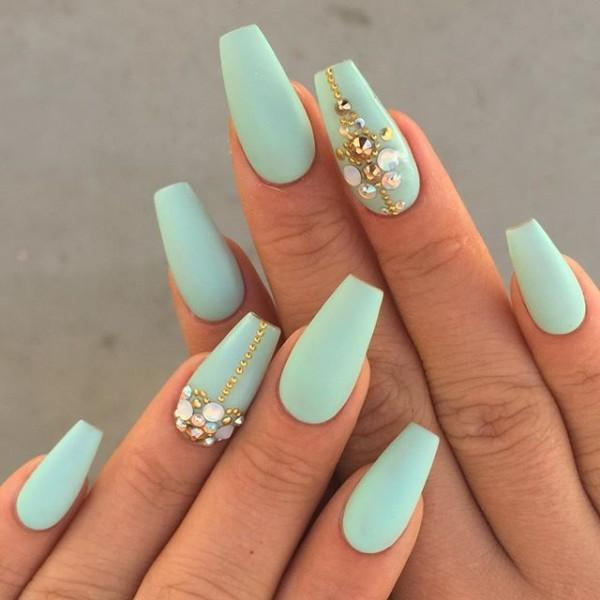 Sea green, totally a mermaid color. So be a royal mermaid with these coffin  ... - 50 Matte Nail Polish Ideas Art And Design